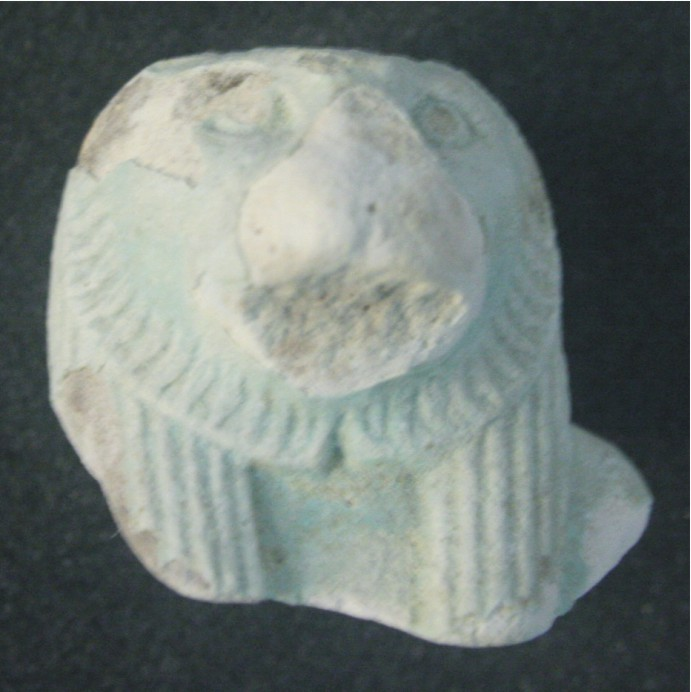 Image for: Faience lion head